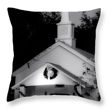 Little White Church Bw Throw Pillow