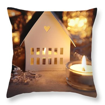 Throw Pillow featuring the photograph Little White House Lit With Candle For The Holidays by Sandra Cunningham
