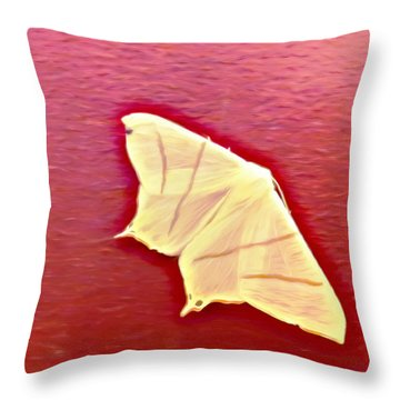 Little White Moth Throw Pillow