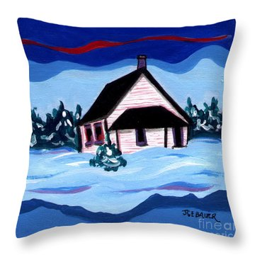 Little White Schoolhouse Throw Pillow