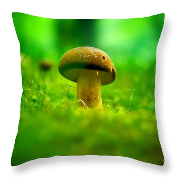 Little Wild Mushroom On A Green Forest Patch Throw Pillow