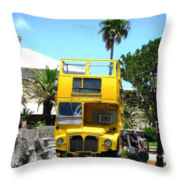 Throw Pillow featuring the photograph Little Yellow Bus by Judy Palkimas