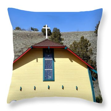 Little Yellow Church Throw Pillow by Heather L Wright