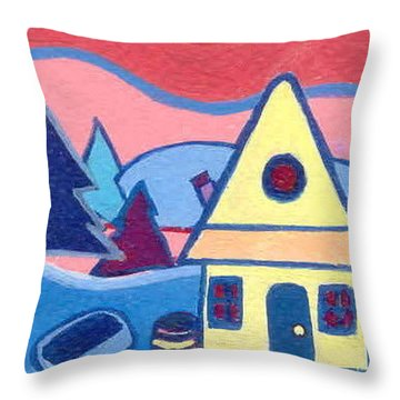 Throw Pillow featuring the painting Little Yellow Farmhouse by Joyce Gebauer