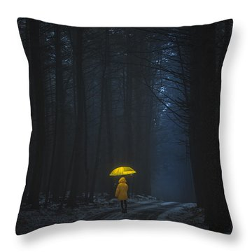 Little Yellow Riding Hood Throw Pillow
