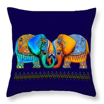 Littlest Elephant Love Links Throw Pillow by Karin Taylor