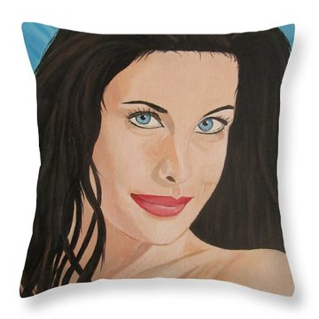 Liv Tyler Painting Portrait Throw Pillow by Jeepee Aero