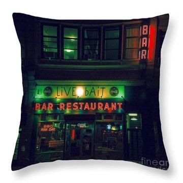 Live Bait Throw Pillow by Andrew Paranavitana