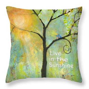 Live In The Sunshine Throw Pillow by Blenda Studio