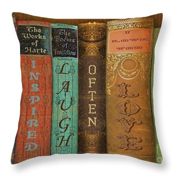 Live-laugh-love-books Throw Pillow