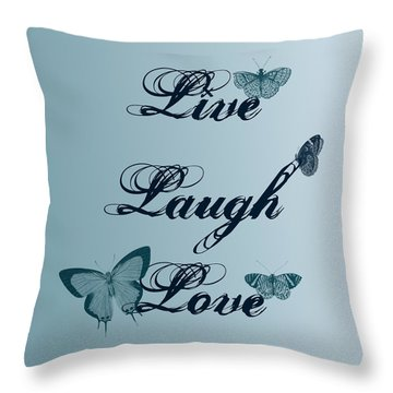 Live Laugh Love Butterflies Throw Pillow