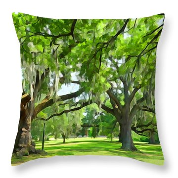 Live Oaks - Audubon Park New Orleeans Throw Pillow