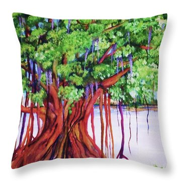 Living Banyan Tree Throw Pillow