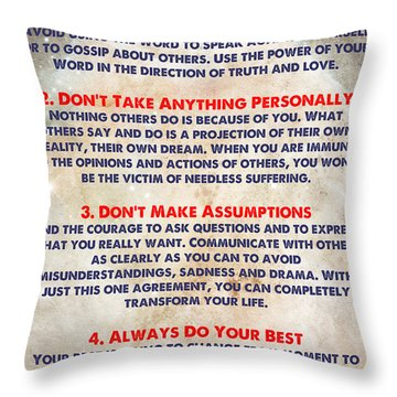 Living The Four Agreements - Wisdom Of The Toltecs Throw Pillow