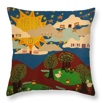 Throw Pillow featuring the painting Liv'n High by Erika Chamberlin
