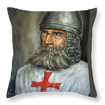 Knight Templar Throw Pillow by Arturas Slapsys