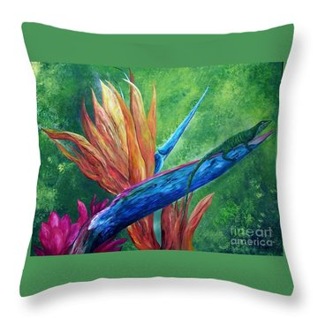 Throw Pillow featuring the painting Lizard On Bird Of Paradise by Eloise Schneider