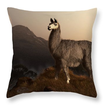 Llama Dawn Throw Pillow by Daniel Eskridge