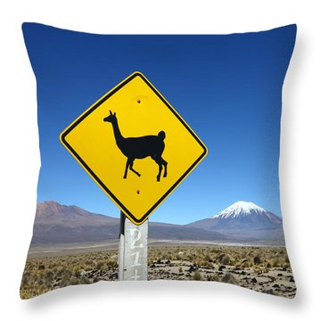 Llamas Crossing Sign Throw Pillow by James Brunker
