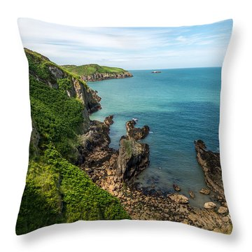 Llanbadrig Coastline Throw Pillow