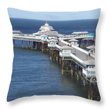 Throw Pillow featuring the photograph Llandudno Pier by Christopher Rowlands