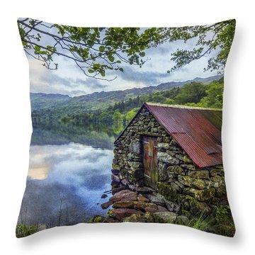 Llyn Gwynant Boathouse Throw Pillow