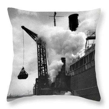 Loading Coal On To A Ship Throw Pillow