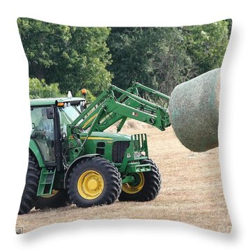 Loading Hay Throw Pillow