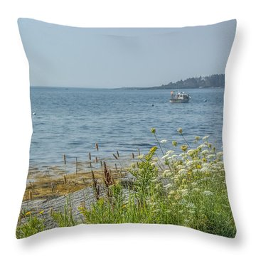 Throw Pillow featuring the photograph Lobster Boat At Rest by Jane Luxton