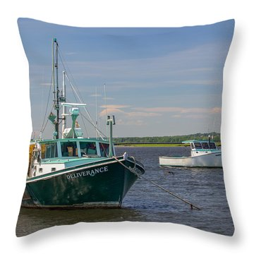 Throw Pillow featuring the photograph Lobster Boat Deliverance  by Kirkodd Photography Of New England