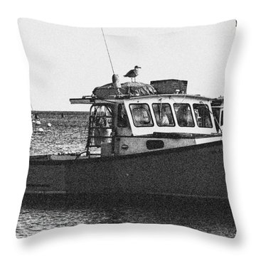 Lobster Boat Throw Pillow by Fred Larson