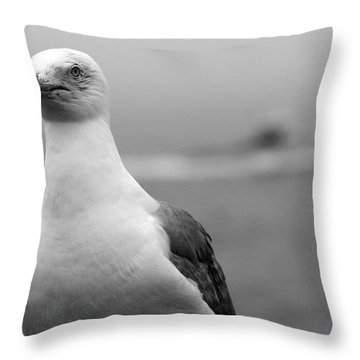 Lobster Boat Gull Throw Pillow