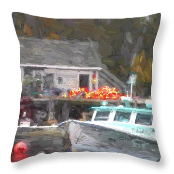 Lobster Boat New Harbor Maine Painterly Effect Throw Pillow