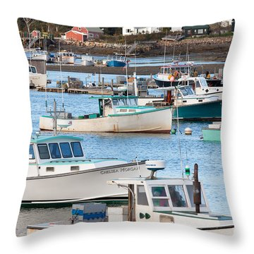 Lobster Boats In Bass Harbor I Throw Pillow