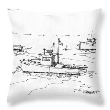 Lobster Boats Monhegan Island 1993 Throw Pillow
