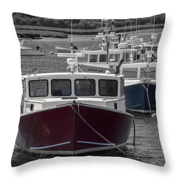Lobster Boats Selective Color Throw Pillow