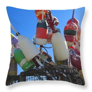 Throw Pillow featuring the photograph Lobster Buoys by Brenda Pressnall