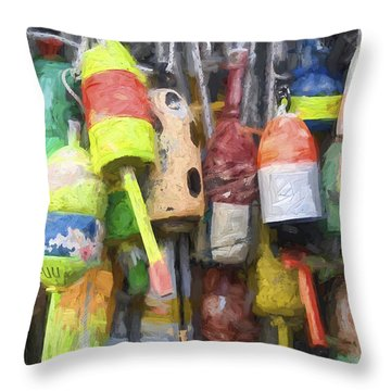 Lobster Buoys Painterly Effect Throw Pillow