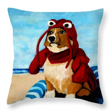 Lobster Corgi On The Beach Throw Pillow