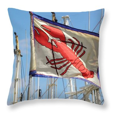 Lobster Flag At The Point Throw Pillow by Mary Carol Williams