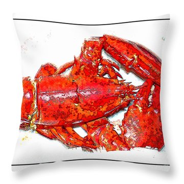 Lobster Illustration With Border Throw Pillow