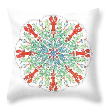 Lobster Mandala Throw Pillow