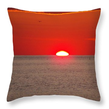 Lobster Pots Dance In The Sea  At Sunrise Throw Pillow