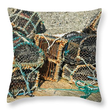 Lobster Pots Throw Pillow by Jane McIlroy