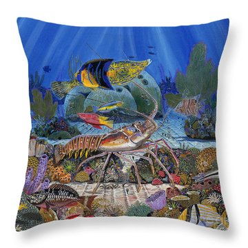 Lobster Sanctuary Re0016 Throw Pillow by Carey Chen