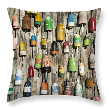 Lobster Shack Buoys Throw Pillow by John Greim