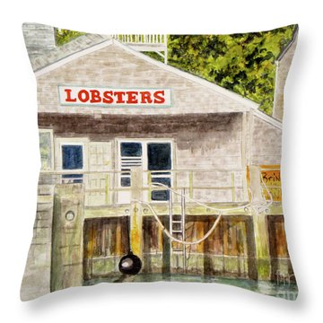 Lobster Shack Throw Pillow by Carol Flagg