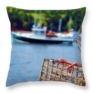 Lobster Trap In Maine Throw Pillow by Olivier Le Queinec