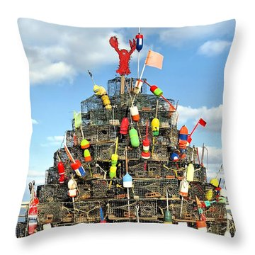 Lobster Traps Christmas Tree Throw Pillow