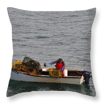 Lobsterman Cleans Trap Throw Pillow by Mike Martin